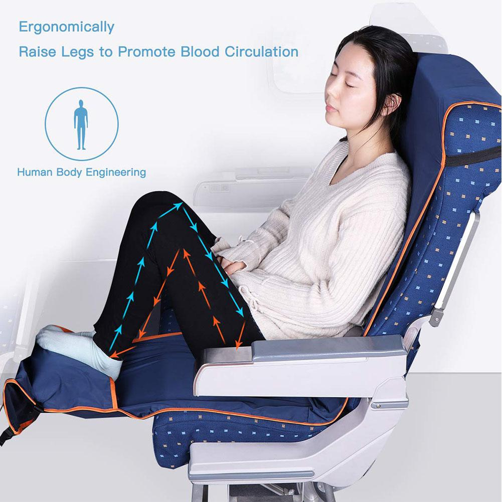 Height Adjustable Footrest Hammock With Inflatable Pillow Seat Cover For Planes Trains Buses 190X40CM