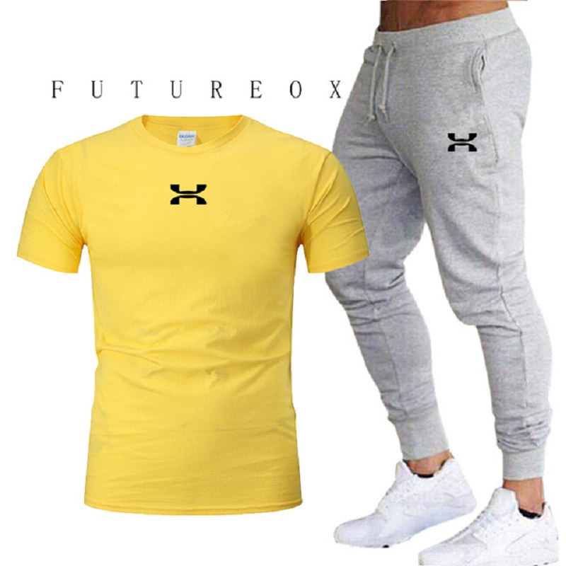 2020 New Men's Sports Pants + T-shirt Men's Running Clothes Running Sportswear Gym Fitness Sportswear Tracksuit Training Pants