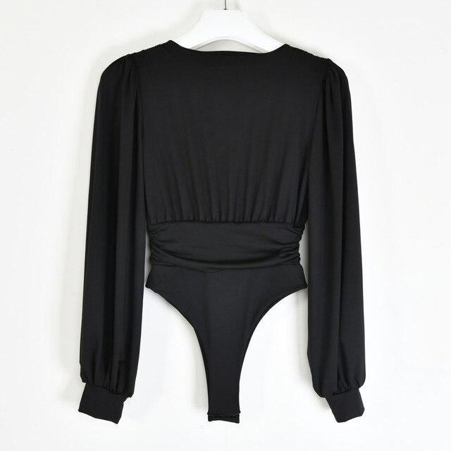 Articat-Body negro con escote en V profundo para mujer, Body Sexy de manga abombada, Body liso elástico informal para fiesta de invierno, bodys, Tops 6