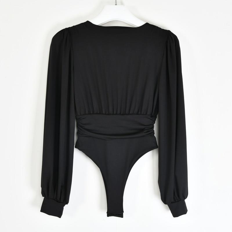 Articat czarny głęboki V Body na szyję kobiety Sexy bufiaste rękawy kombinezon typu Bodycon jednolita elastyczna w stylu Casual, imprezowa Body zimowe Body topy