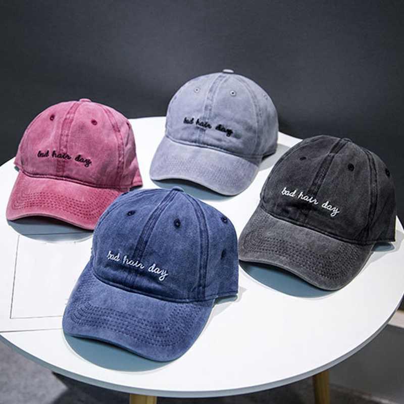 Gorra Snapback de alta calidad de algodón lavado Mal Pelo día ajustable gorra de béisbol de Color sólido Unisex pareja Cap moda papá sombrero