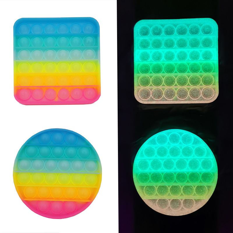 Glow Pop Push Bubble Fluorescence Bubble Fidget Toy Antistress Squeeze Sensory Toy Relief Squishy Toys Gift For Adults Children