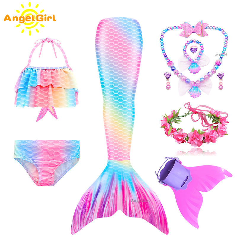 Princess-Dress Mermaid-Costume Cosplay Swimsuit Holiday Swimmable Birthday Girls Monofin Kids