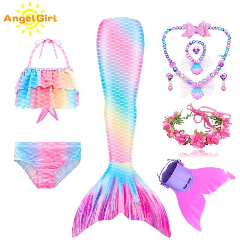 AngelGirl 2021 Mädchen Swimmable Meerjungfrau Schwanz Prinzessin Kleid mit Monofin Kinder Urlaub Meerjungfrau Kostüm Cosplay Badeanzug Geburtstag