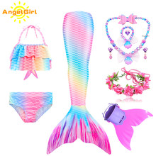 Angelgirl 2021 meninas nadáveis sereia cauda vestido de princesa com monofin crianças feriado sereia traje cosplay aniversário