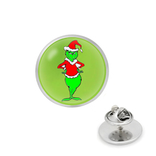 лучшая цена The Grinch Pin Brooch Glass Circle Animal Pin The Grinch Anime Jewelry Christmas Gift Dr. Suess How The Grinch Stole Christmas