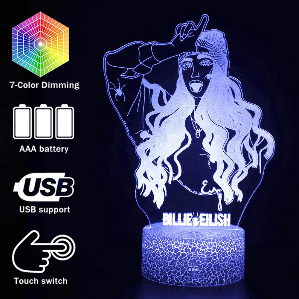 Billie Eilish Famous Singer 3D LED Lamp Illusion 7 Colors Changing Table Night Light Baby Bedside Decoration Lamp DropShipping