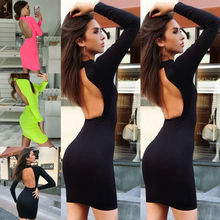 Goocheer 2019 New Casual Women Backless Bodycon Long Sleeve Evening Party Cocktail Club Mini Dress