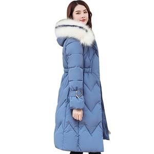 Image 1 - 2020 зимняя новая парка, женская утепленная пуховая хлопковая куртка, пальто, теплые пуховые хлопковые пальто, женская однотонная куртка с капюшоном, длинные плотные приталенные куртки