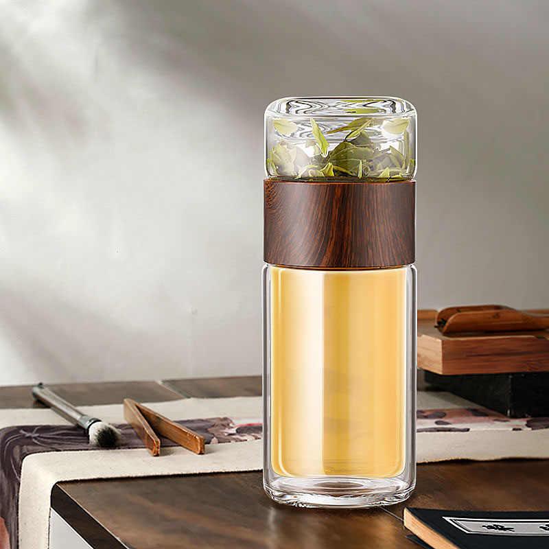 ZOOOBE زجاج مزدوج الجدار زجاجة مياه الشاي مع كيس الشاي Infuser الزجاج مع فلتر المحمولة الأعمال هدية للرجل