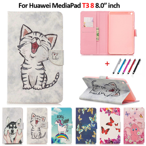 8 inch Tablet Case For Huawei MediaPad T3 8 Case Kawaii Unicorn Cat Puppy Leather Case For Huawei MediaPad T3 8 Cover Coque+Pen(China)