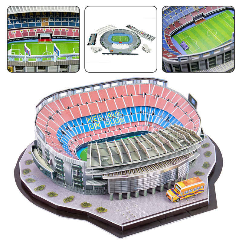 1pcs Barcellona Camp Nou Stadio 3D Di Puzzle Football Club Jigsaw Modello di Spagna In Scatola