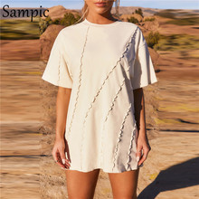 Sampic Fashion Summer Sexy Chic Women Casual Patchwork manica corta maglietta allentata top bianco Y2K t-shirt Basic oversize lunghe 2021