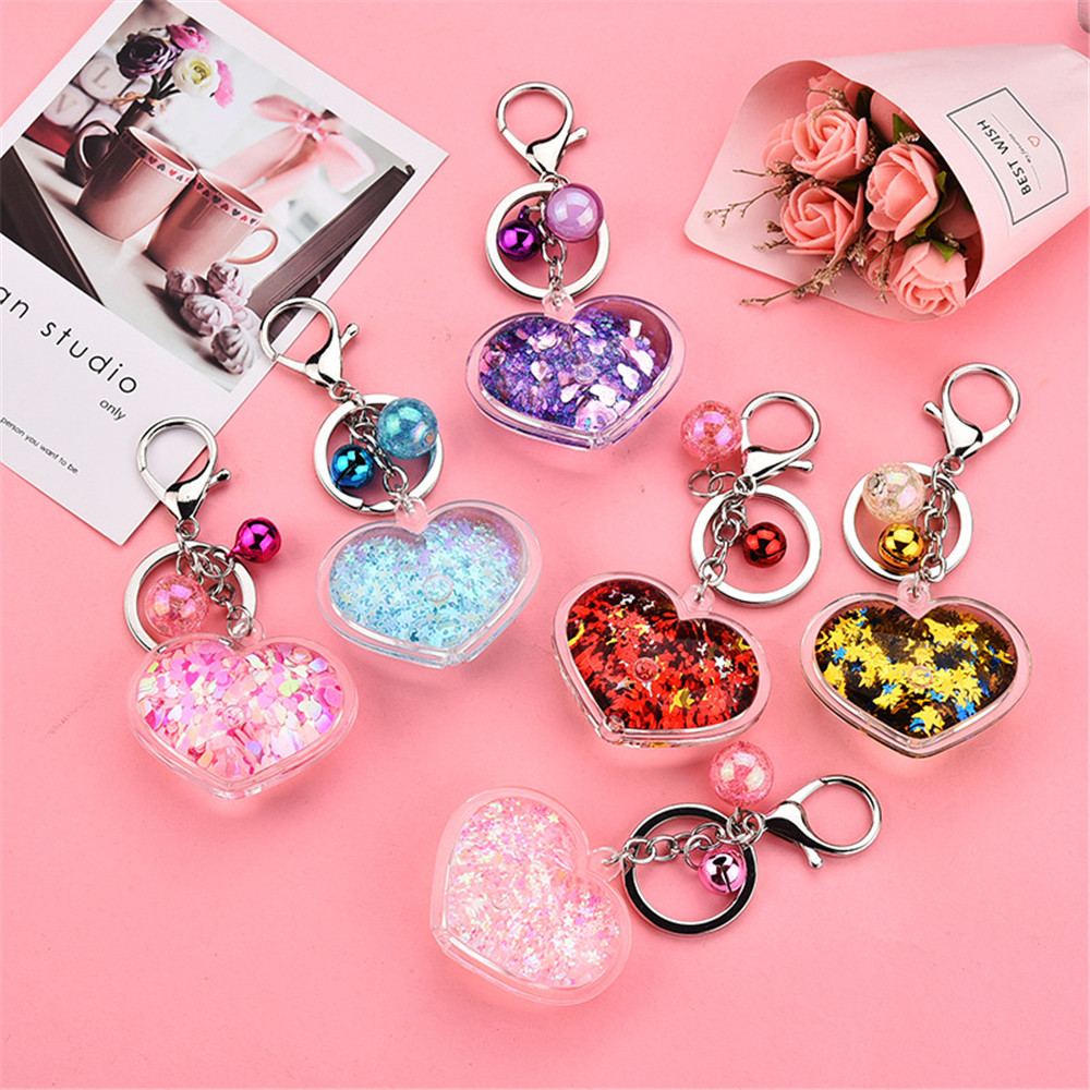 Heart Powder Moving Liquid Key Ring Fantasy Keychain Glitter Quicksand Star Keychain Car Key Pendant Creative Birthday Gift