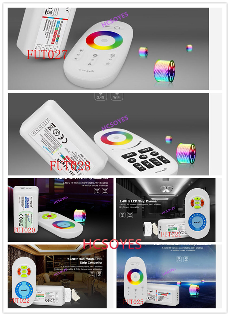 milight FUT020 FUT021 FUT022 FUT025 FUT027 <font><b>FUT028</b></font> RGB RGBW 2.4GHz touch LED Strip Controller Dual White single color LED Dimmer image