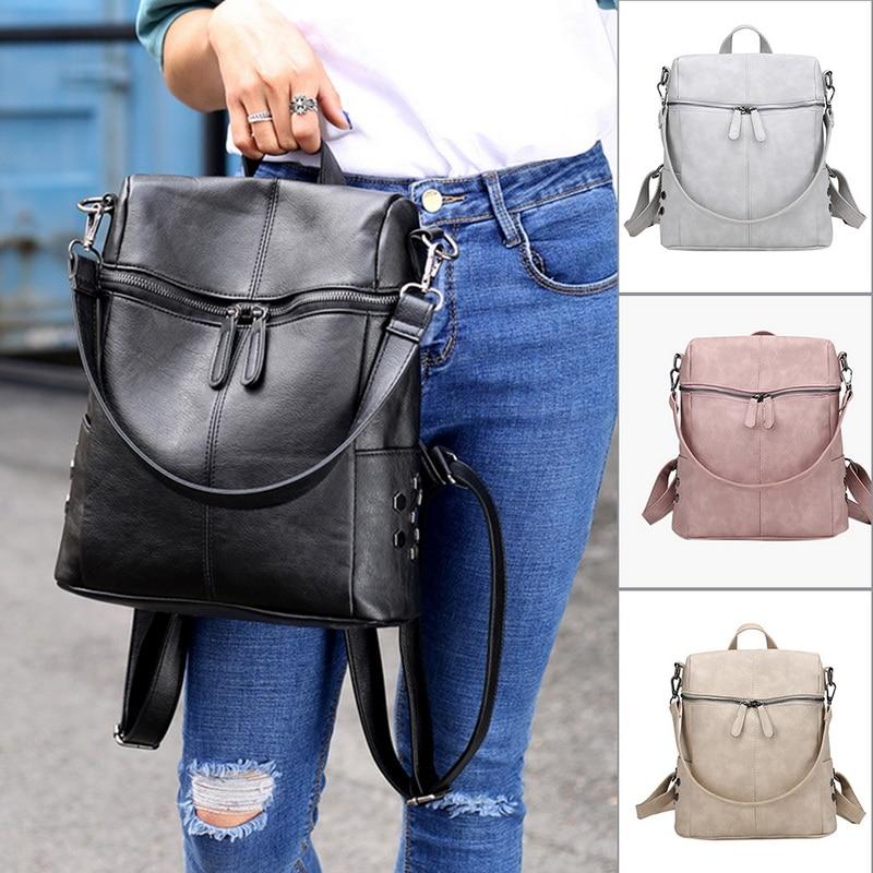 SHUJIN Fashion Leather Backpack Women Waterproof PU Leather Ladies Zipper Female Casual Shoulder Bag Teenager School Bag 2020