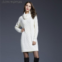 HITOM PRINCESS Thick Warm Women Winter Dress Turtleneck Long Sweater Dresses Autumn Pullover Knitted Dress Plus Size Vestidos vestidos elegant sweater dress women v neck warm knitted autumn casual winter dresses women 2016 plus size lj7214t