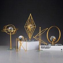 Nordic Iron Art Geometry Crystal Ball Desktop Ornament Modern Creative Home Decoration Living Room Metal Ornament
