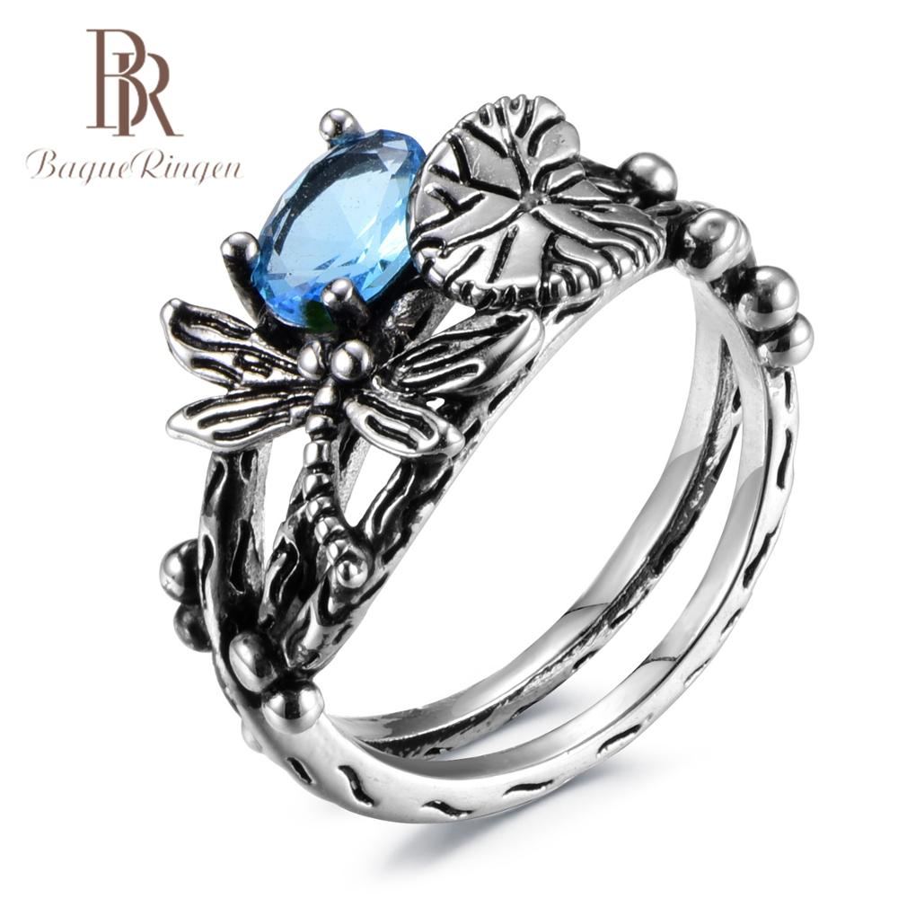 Bague Ringen Vintage Silver 925 Jewelry Rings For Women Insect Shape Oval Blue Green Purple Pink Gemstone Rings Anniversary Gift