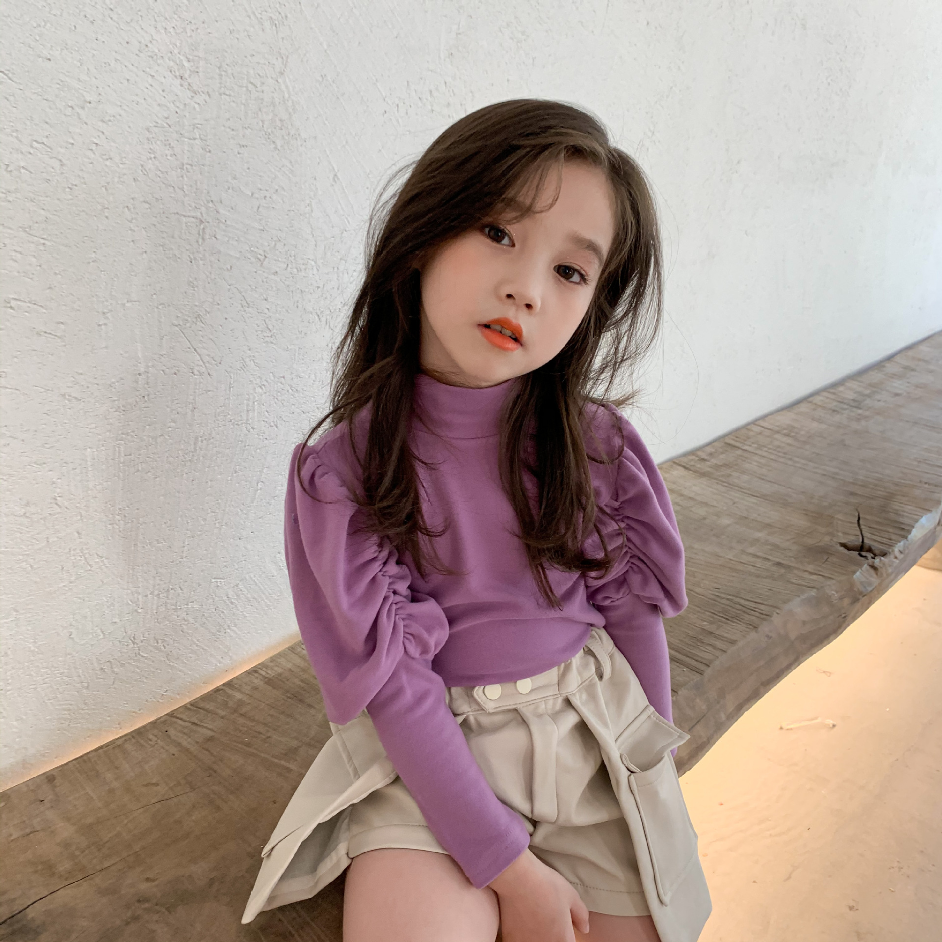 2020 Autumn New Arrival Girls Long Sleeve T Shirt Kids Korean Design Puff Sleeve Tops 1