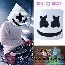 Marshmello DJ Mask EL Wire LED Helmet Cosplay Prop Halloween Full Face Party Bar Masks Drop shipping