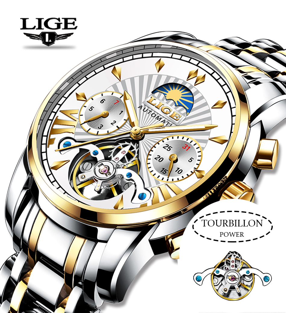 H7a1acee5153142129735d50e21f906afu LIGE Official Store Mens Watches Top Brand Luxury Automatic Mechanical Business Clock Gold Watch Men Reloj Mecanico de Hombres