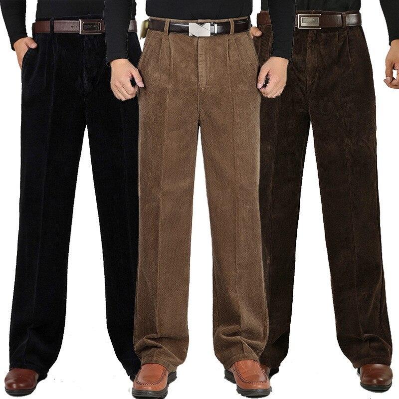 Winter Men's Cashmere Casual Pants Men's Cotton Corduroy Double Pleated High Waist Loose Thick Pants More Size 30-44 46