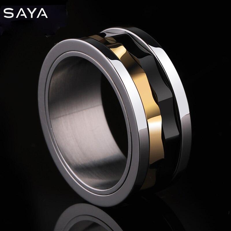 Anneau pour hommes, anneaux en carbure de tungstène avec des couleurs noires et dorées