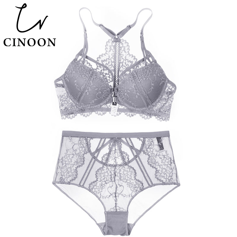 CINOON Floral Lace Lingerie Front Closure   Bra     Set   Backless Underwear Push Up Brassiere Sexy High-Waist Panties For Women 2018