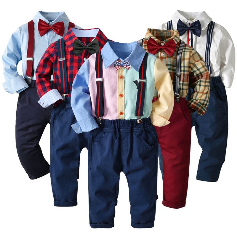 2 Pcs Kids Spring Clothing Sets Boys Gentleman Button Plaid Bow Tie Suit Children Clothing Set Baby Opening Ceremony Party Wear