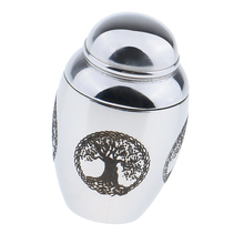 3Pcs Stainless Steel Small Memorial Ashes Urn Keepsake Feather Jar Vial
