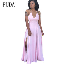 FUDA Plus Size XXL Summer Boho Women Sleeveless Sexy High Split Dress Fashion Open Back Halter Maxi Long Dress Beach Casual Wear plus open shoulder split back pinstripe shirt