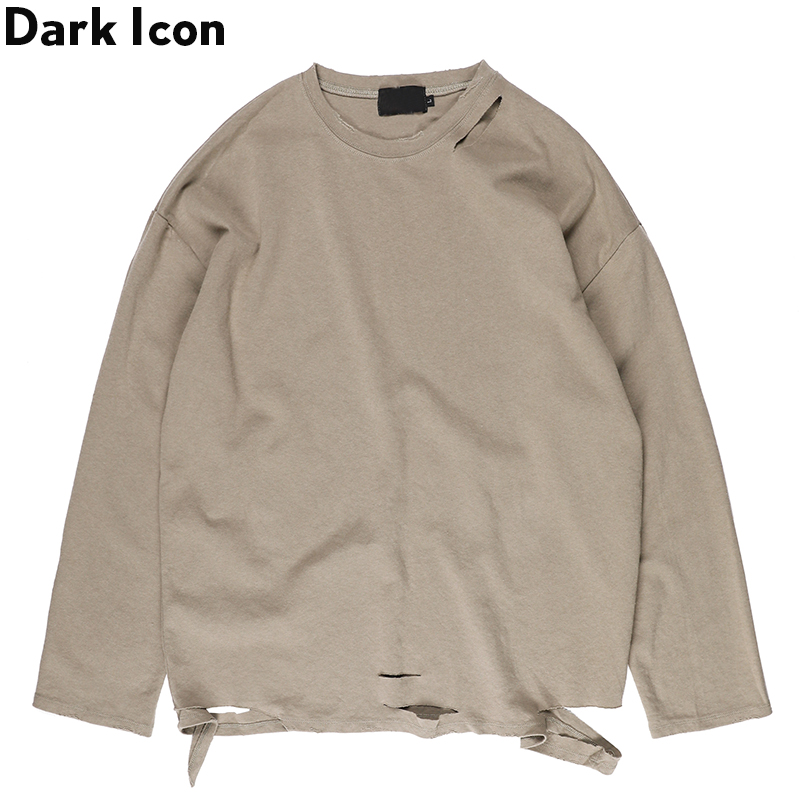 Dark Icon Solid Color Ripped Men T shirt Long Sleeve 2019 New Fashion Street Men 39 s Tshirts Cotton Tee Shirts 3 Colors in T Shirts from Men 39 s Clothing