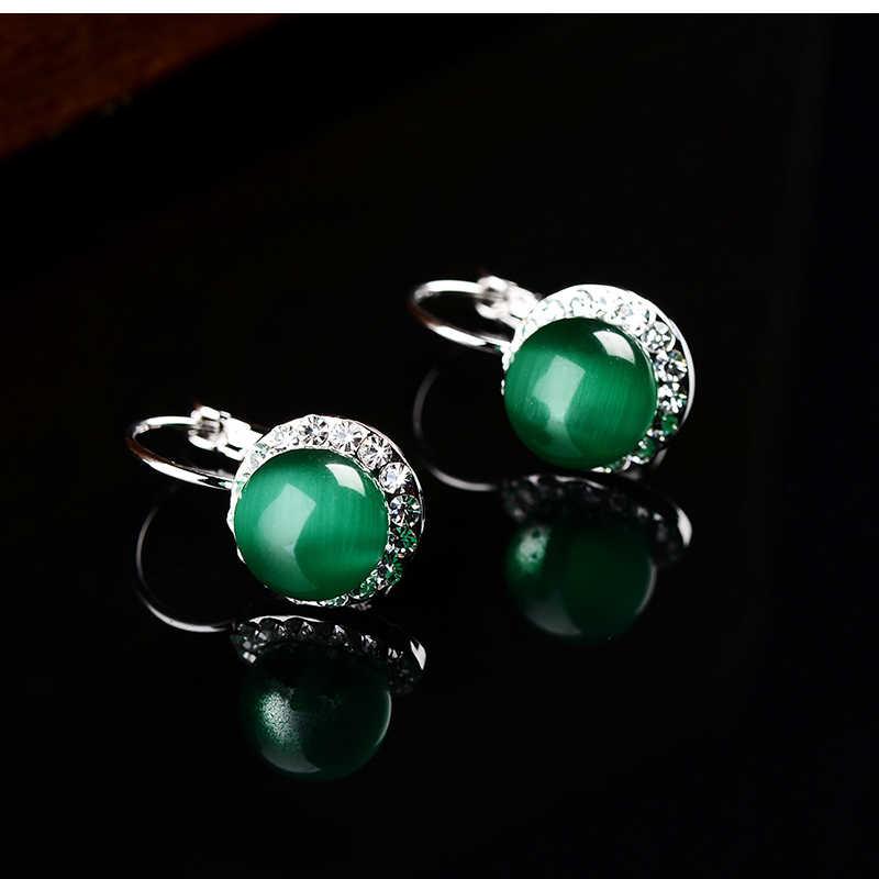 K's Gadgets แฟชั่นโอปอลหินสีเงินสีเขียวลูกปัดโอปอลสำหรับผู้หญิง Luxury ออสเตรียคริสตัลต่างหู