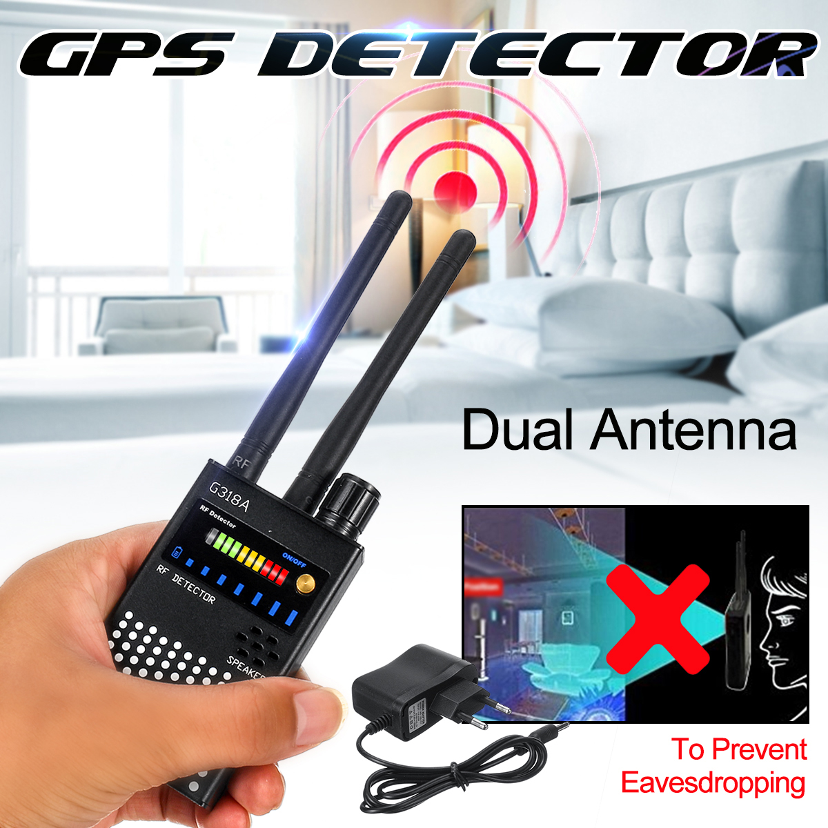 G-318A 1MHz Dual Antenna 8000MHz Anti-Spy Bug Detector Wireless RF GPS Location Dual Signal Device Finder Privacy Protect