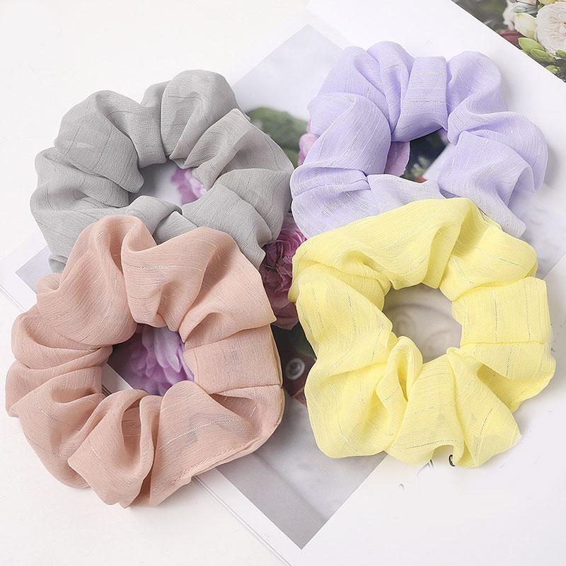 Solid Color Chiffon Silver Bright Silk Hair Rope Ponytail Scrunchies Women Elastic Hair Bands Rubber Band Lady Hair Accessories