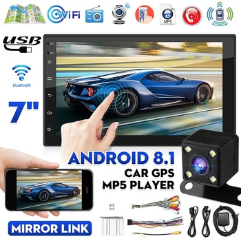 7 Android 8.1 2 Din Car Multimedia Player Car Radio Stereo MP5 Player MP3 bluetooth GPS FM wif Rear View Camera image
