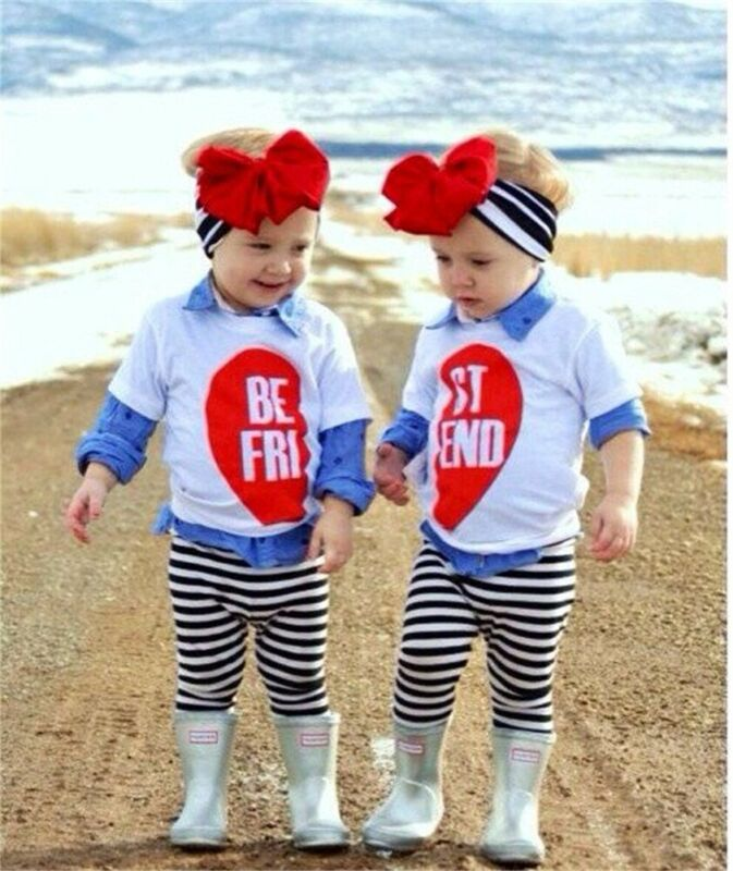 Baby Girl Toddler <font><b>Kids</b></font> <font><b>BEST</b></font> <font><b>FRIEND</b></font> Outfits Top <font><b>Shirt</b></font> Stripe Pants Clothes 3PCS image