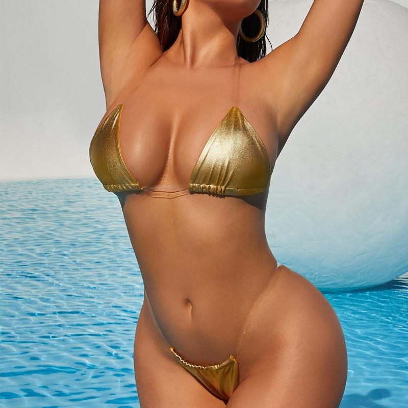 Sexy Micro Bikini 2020 Swimsuit Women Swimwear Solid Thong Mini Bikini Set Brazilian Bathing Suit Female Beach Wear New Bathers 2