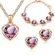 Fine jewelry 925 sterling silver for ladies wedding rose red heart set necklace earrings bracelet set yw034(China)