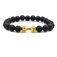 Beads Chakra Bracelet Women Men Yoga Healing Balance Supernatural Lava Stones Dumbbell Unisex Jewelry