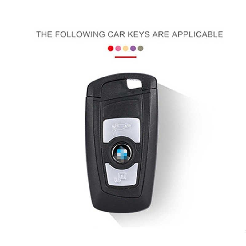 Padrão de Fibra De carbono Caso Capa de Silicone Chave Keychain Para BMW 520 525 730li 740 118 320i 1 3 5 7 série X3 X4 M3 M4 M5