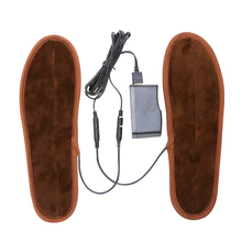 Non Woven Snow Heated Shoe Insoles Warmer Electric Foot Brown Winter Keep Warm With Battery Box