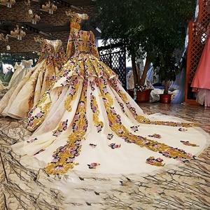 Image 2 - LS39810ヘビービーズイブニングドレス長袖花柄ガウンセクシーなスパンコールpronmイブニングドレス中国アリババ卸売