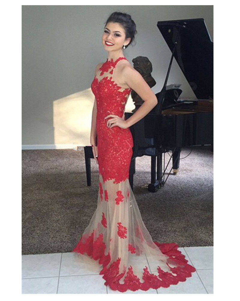 High Neck Red Mermaid 2018 See Through Lace Appliques Long Sleeveless Robe De Soiree Party Prom Gown Bridesmaid Dresses