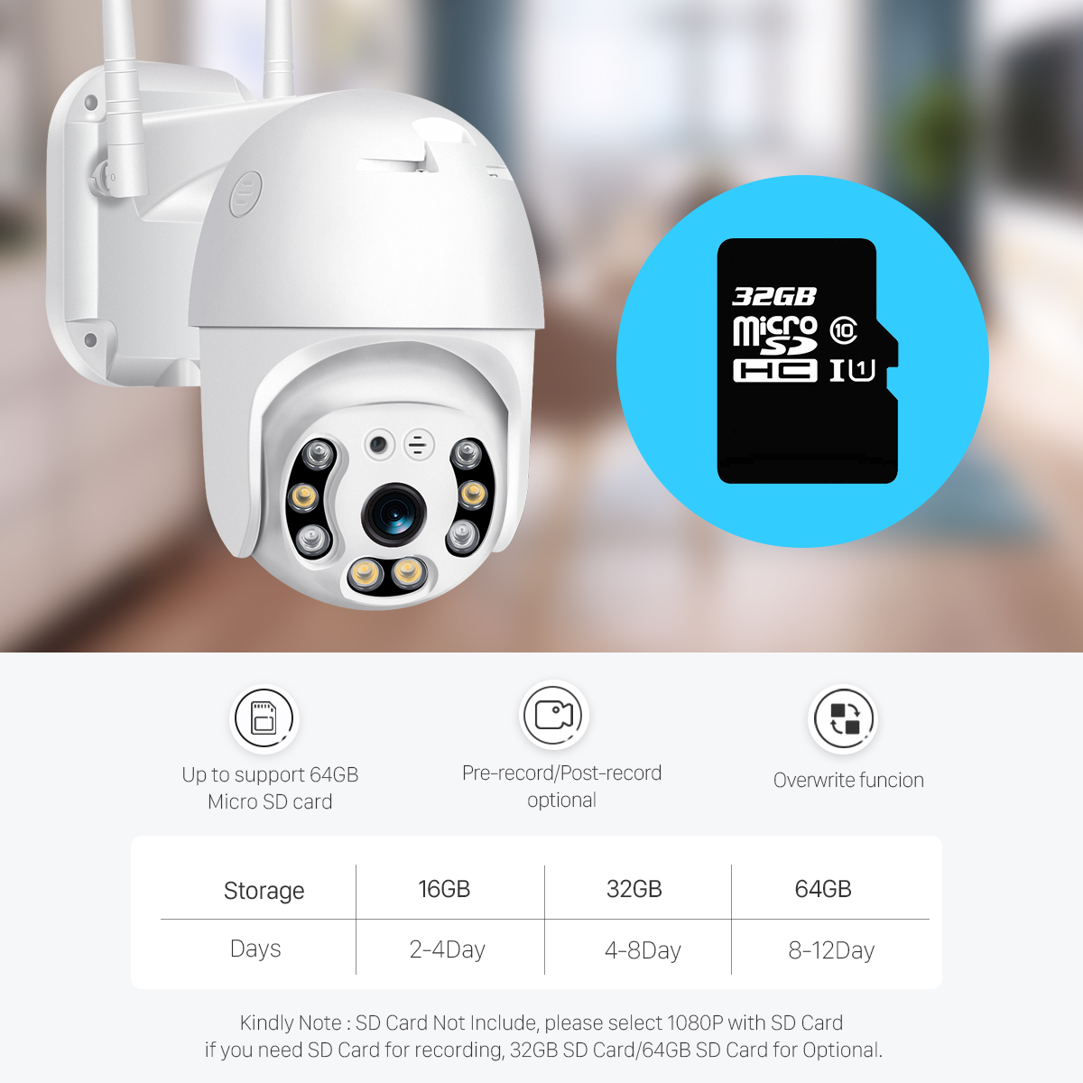 H7a1c06267d97452b9a498574ee375dbfR BESDER H.265 PTZ IP Camera 2MP WiFi Cloud Storage Motion Voice Alert Dual Antenna Dual IR Light PTZ Security Surveillance Camera