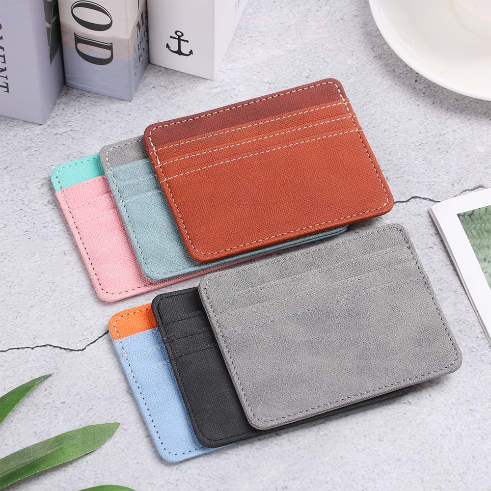 1pc couro do plutônio cartão de identificação titular doces cor banco caixa de cartão de crédito multi slot fino caso de cartão carteira