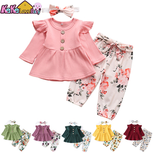 3Pcs Newborn Baby Girls Clothing Set Long Sleeve Tops Pants Headband Cute Clothes for Infant Toddler Outfit 2020 Spring Autumn