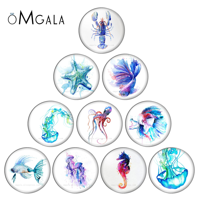 Aquarelle Sea Marine Life Fish Jellyfish 12mm/14mm/16mm/18mm/20mm/25mm Round Photo Glass Cabochon Demo Flat Back Making Findings