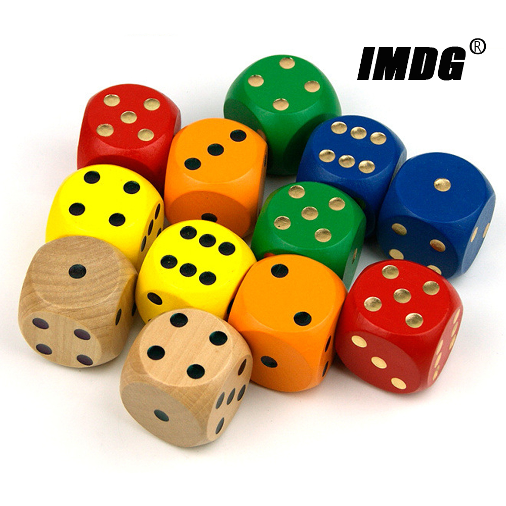 1PCS Wood Dice 40mm Big Colorful Solid Wooden Dot Game Rounded Dice Drinking Dice
